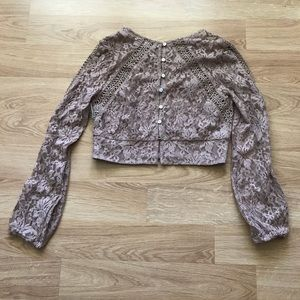 Small Beige Lace Crop Top